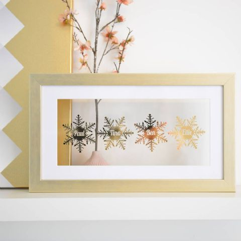 Personalised Floating Snowflake Framed Art